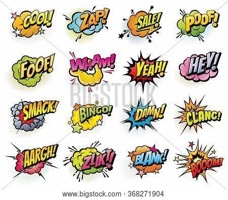 Comics Speech Bubbles And Sound Blast Isolated Vector Icons Set. Cartoon Pop Art Bubbles Of Boom, Bi
