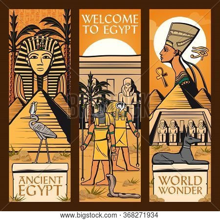 Ancient Egypt Banners. Vector Great Pyramids Of Giza, Sphinx And Ankh Symbol, Anubis, Scarab, Eye Of