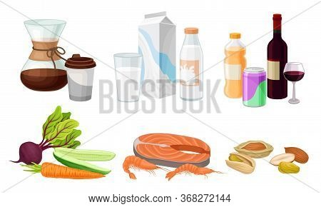 Food And Drink Arrangement With Coffee And Seafood Vector Set