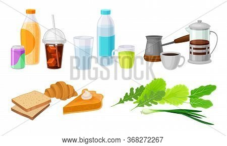 Food And Drink Arrangement With Coffee And Pastry Vector Set