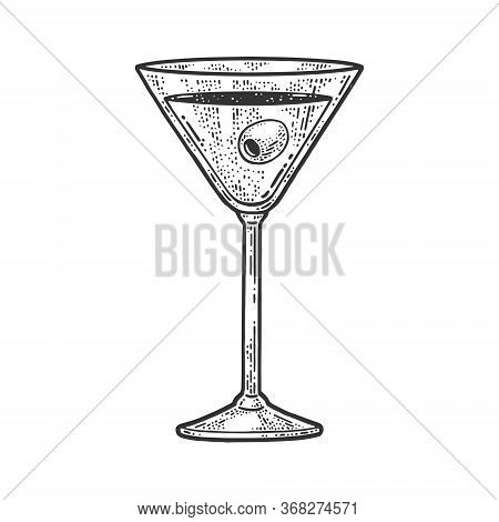 Alcoholic Drink Liquor With Olive In A Glass Sketch Engraving Vector Illustration. T-shirt Apparel P