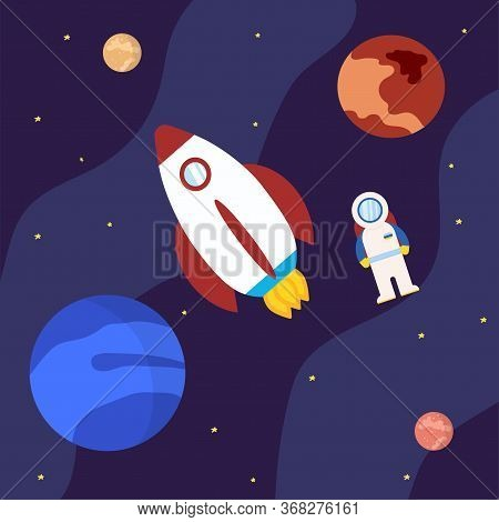 Rocket With Astronaut And Planets In Outer Space Illustration Cartoon Style And Flat Color Launch To