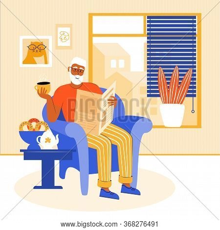 Elderly Man Stays At Home During The Quarantine. Grandfather Is Sitting In A Chair By The Window, Re