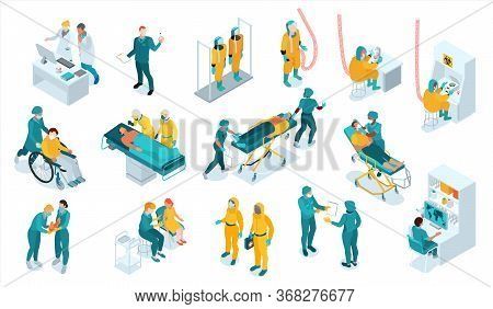 Infectious Disease Isometric Set With Virologist Symbols Isolated Vector Illustration