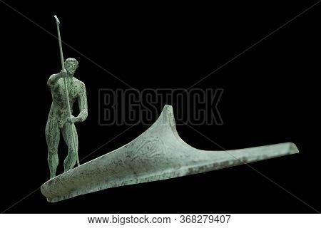 Charon Transports The Souls Of Dead People By Boat Across The Styx River. Ancient Mythology. Antique