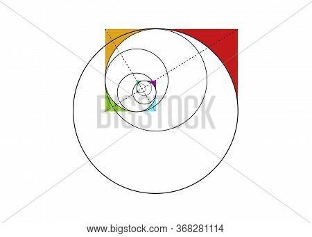 Fibonacci Sequence Circle. Golden Ratio. Geometric Shapes Spiral. Circles In Golden Proportion. Colo