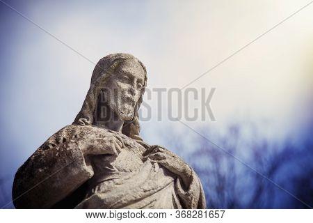 Antique Statue Of Jesus Christ As Divine Savior Of The World. Religion, Christianity, Faith, Immorta