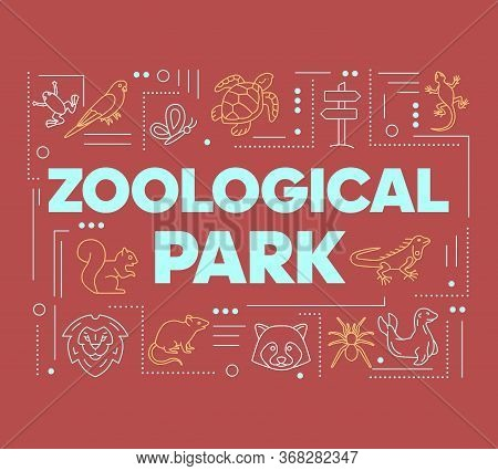 Zoological Park Word Concepts Banner. Wild Animals Species. Mammals And Reptiles Diversity. Presenta