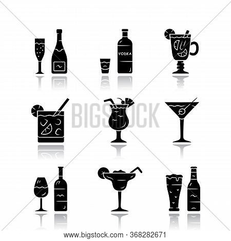 Drinks Drop Shadow Black Glyph Icons Set. Alcohol Drinks Card. Champagne, Vodka, Hot Toddy, Wine, Be