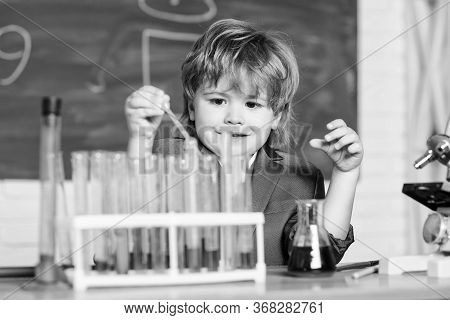 Kid Study Chemistry. Biotechnology And Pharmacy. Genius Pupil. Chemical Analysis. Science Concept. W