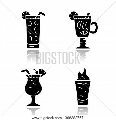Drinks Drop Shadow Black Glyph Icons Set. Cocktail In Highball Glass, Hot Toddy, Pina Colada, Flamin