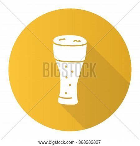 Light Beer Glass With Froth Yellow Flat Design Long Shadow Glyph Icon. Traditional Alcohol Beverage,