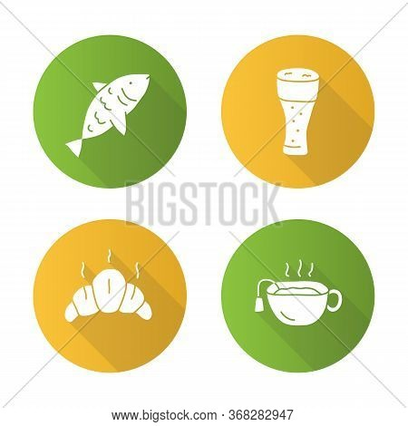 Drinks With Snacks Flat Design Long Shadow Glyph Icons Set. Fish, Beer Glass, Croissant And Hot Tea