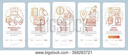 Ambulatory And Home Care Pharmacy Onboarding Mobile App Page Screen Vector Template. Drug Research.