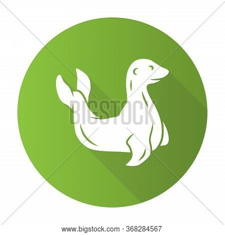 Seal Green Flat Design Long Shadow Glyph Icon. Pinniped Mammal. Antarctic Sea Lion. Oceanography And