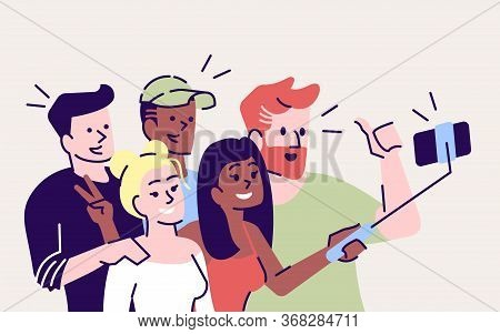 Selfie Flat Vector Illustration. Happy People Making Selfie Stick Picture Together. Capturing Bright