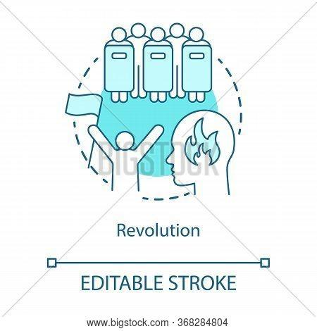 Revolution Concept Icon. Civil Unrest, Conflict Idea Thin Line Illustration. Revolutionary With Flag