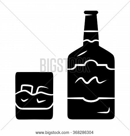 Whiskey Glyph Icon. Bottle And Old Fashioned Glass With Drink And Ice. Scotch, Rum Shot. Distilled A