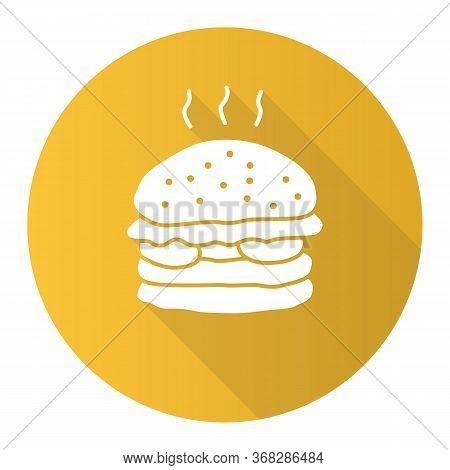 Delicious Burger Yellow Flat Design Long Shadow Glyph Icon. Traditional Hamburger, Junk Food Vector
