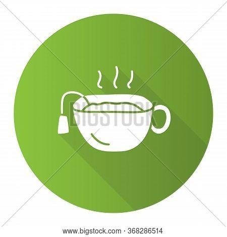 Hot Brown Tea Cup Green Flat Design Long Shadow Glyph Icon. Mug With Warm Delicious Beverage Vector
