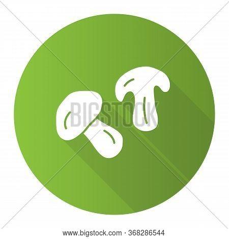 Edible Mushroom Green Flat Design Long Shadow Glyph Icon. Cut Champignon, Shiitake Slice Vector Silh