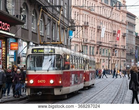 Prague, Czechia - November 2, 2019: Prague Tram, Or Called Prazske Tramvaje, Tatra T3 Model, In The