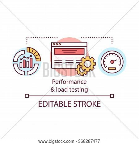 Performance And Load Testing Concept Icon. Check Program Under Workload. Research System Speed And S