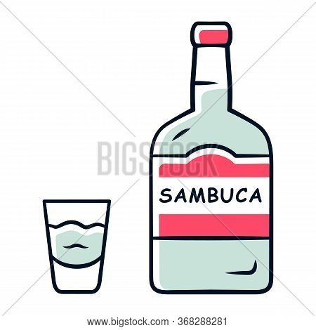 Sambuca Grey Color Icon. Bottle And Shot Glass With Drink. Italian Anise-flavoured Liqueur. Alcoholi
