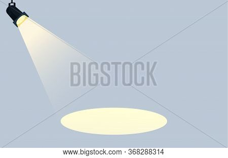 Flat Spotlights With Bright White Light Shining Stage Vector. Studio. Illuminated Effect Form Projec