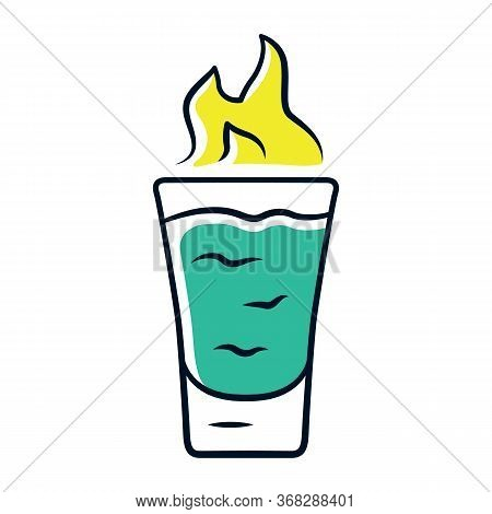 Flaming Shot Green Color Icon. Glass With Beverage And Burning Fire. Drink With Flammable High-proof