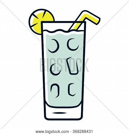 Cocktail In Highball Glass Grey Color Icon. Summer Icy Refreshing Soft Drink With Slice Of Lemon And