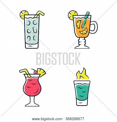 Drinks Color Icons Set. Cocktail In Highball Glass, Hot Toddy, Pina Colada, Flaming Shot. Alcoholic