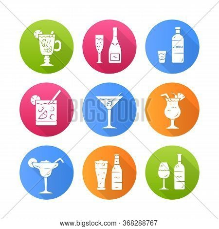 Drinks Flat Design Long Shadow Glyph Icons Set. Alcohol Drinks Card. Champagne, Vodka, Hot Toddy, Wi