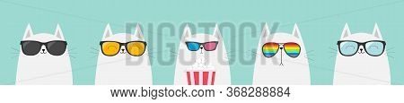 White Cat Set. Eating Popcorn. Cinema Theater. Cute Cartoon Funny Character. Film Show. Kitten Watch