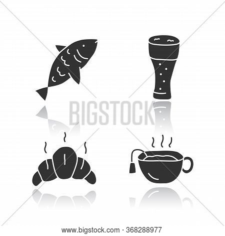 Drinks With Snacks Glossy Icons Set. Harmful And Healthy Beverages With Appetizers Silhouette Symbol
