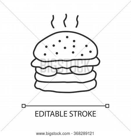 Delicious Burger Linear Icon. Tasty Hamburger Thin Line Illustration. Unhealthy Nutrition, Harmful E