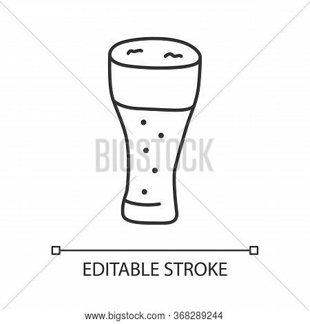 Light Beer Glass Linear Icon. Traditional Harmful Alcohol Beverage Thin Line Illustration. Bar, Pub,