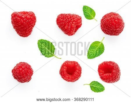 Raspberry And Mint Leves Isolated On White Background. Fresh Raspberries,  Flat Lay. Top View