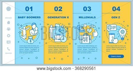 Generation Onboarding Mobile Web Pages Vector Template. Baby Boomers. Responsive Smartphone Website