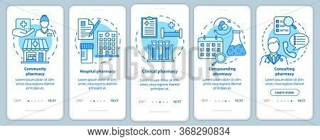Pharmacy Types Onboarding Mobile App Page Screen With Linear Concepts. Hospital, Clinic Pharmacology