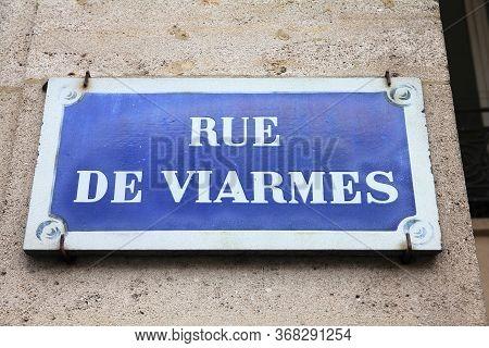 Paris, France - Rue De Viarmes Old Street Sign.