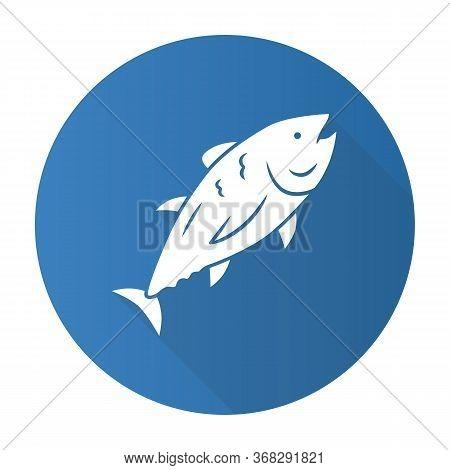 Tuna Blue Flat Design Long Shadow Glyph Icon. Swimming Marine Fish. Underwater Inhabitant. Mackerel