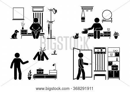 Apartment Hallway Design Vector Illustration Icon Set. Stick Figure Man In Foyer Entrance Black And