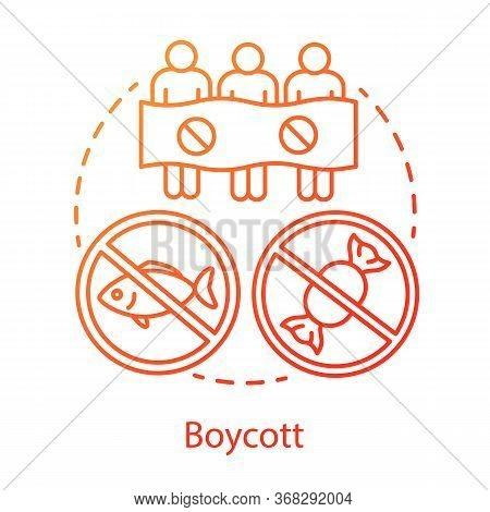 Boycott Concept Icon. Public Demonstration, Product Restriction, Consumer Activism Idea Thin Line Il