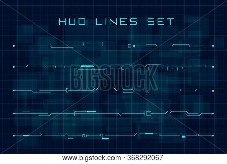 Set Of Blue Hud Futuristic Header And Footer Elements On Dark Hi Tech Background. Design Elements Fo