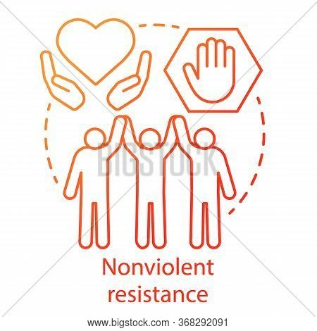 Nonviolent Resistance Concept Icon. Peaceful Political Protest, Public Rally, Pacifism Movement Idea