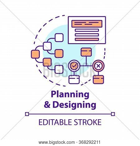 Planning And Designing Concept Icon. System Operation Algorithm Idea Thin Line Illustration. Work St