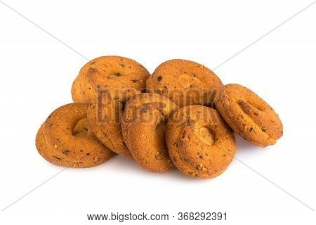 A Confection Isolated On A White Background. Sweet Cakes, Cookies, Muffins, Shortbread Cookies