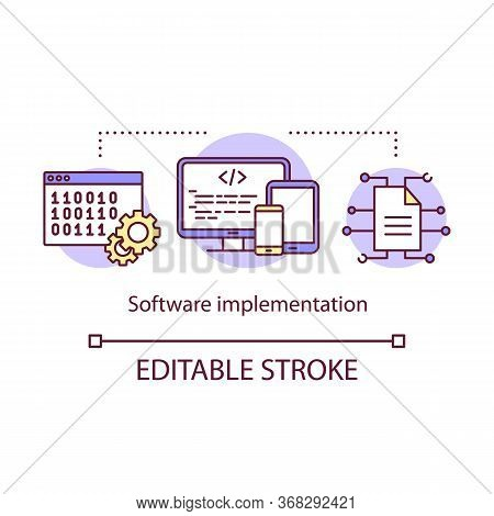 Software Implementation Concept Icon. Computer Programming And Deployment. Creating Apps For Smartph