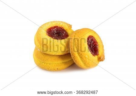 A Confection Isolated On A White Background. Sweet Cakes, Cookies, Muffins, Shortbread Cookies In Fr